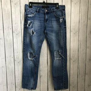 Zara Cropped Boyfriend Jeans Womens 4 Distressed